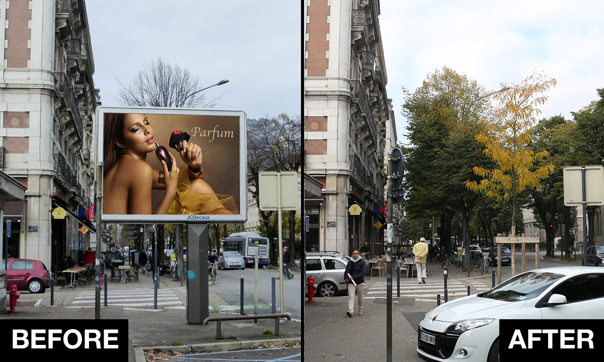 In Grenoble, trees replace billboards