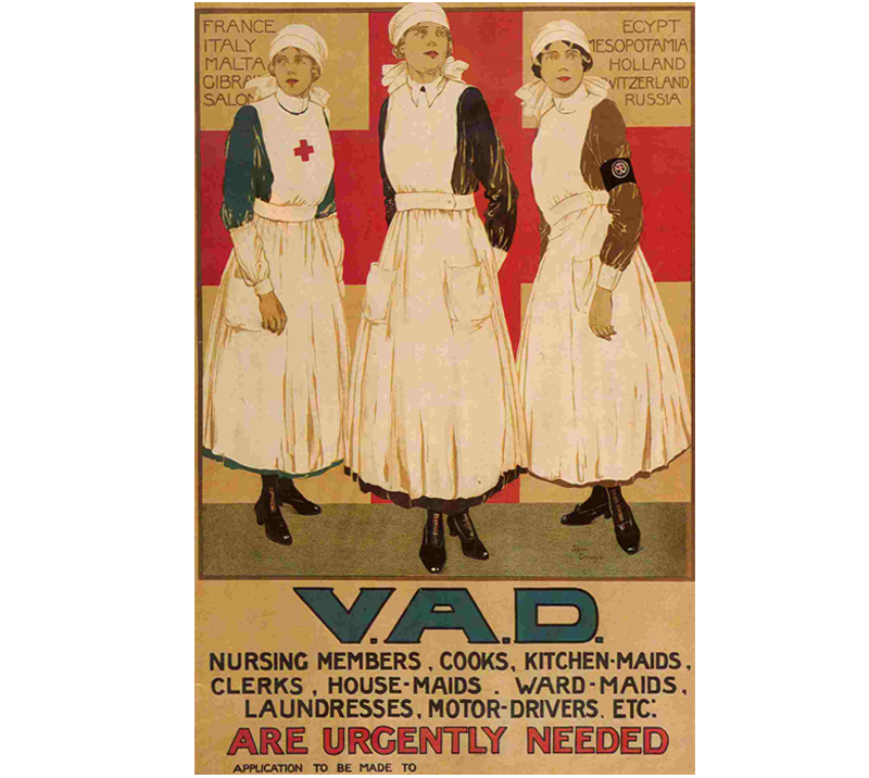 42b2777d88393 First World War recruitment poster by artist Joyce Dennys featuring 3 VADs  in uniforms of the British Red Cross, St John Ambulance and Territorial  Force.
